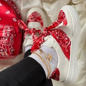 Red Bandana Bow Sneakers Tennis